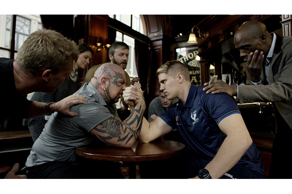 Scotland Rugby League player arm wrestling