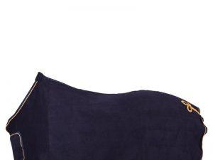 Blått Fleecetäcke med guldfärg runt och vid svansen