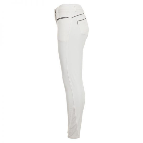 vita ridbyxor med läder skoning