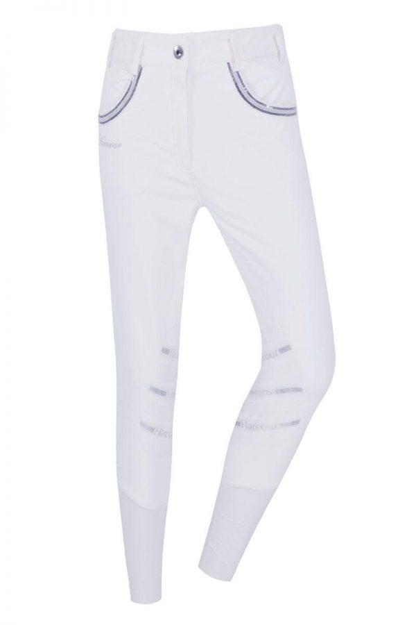 Vita Ridbyxor med strass på fickorna knäskodda med silikon Harcour
