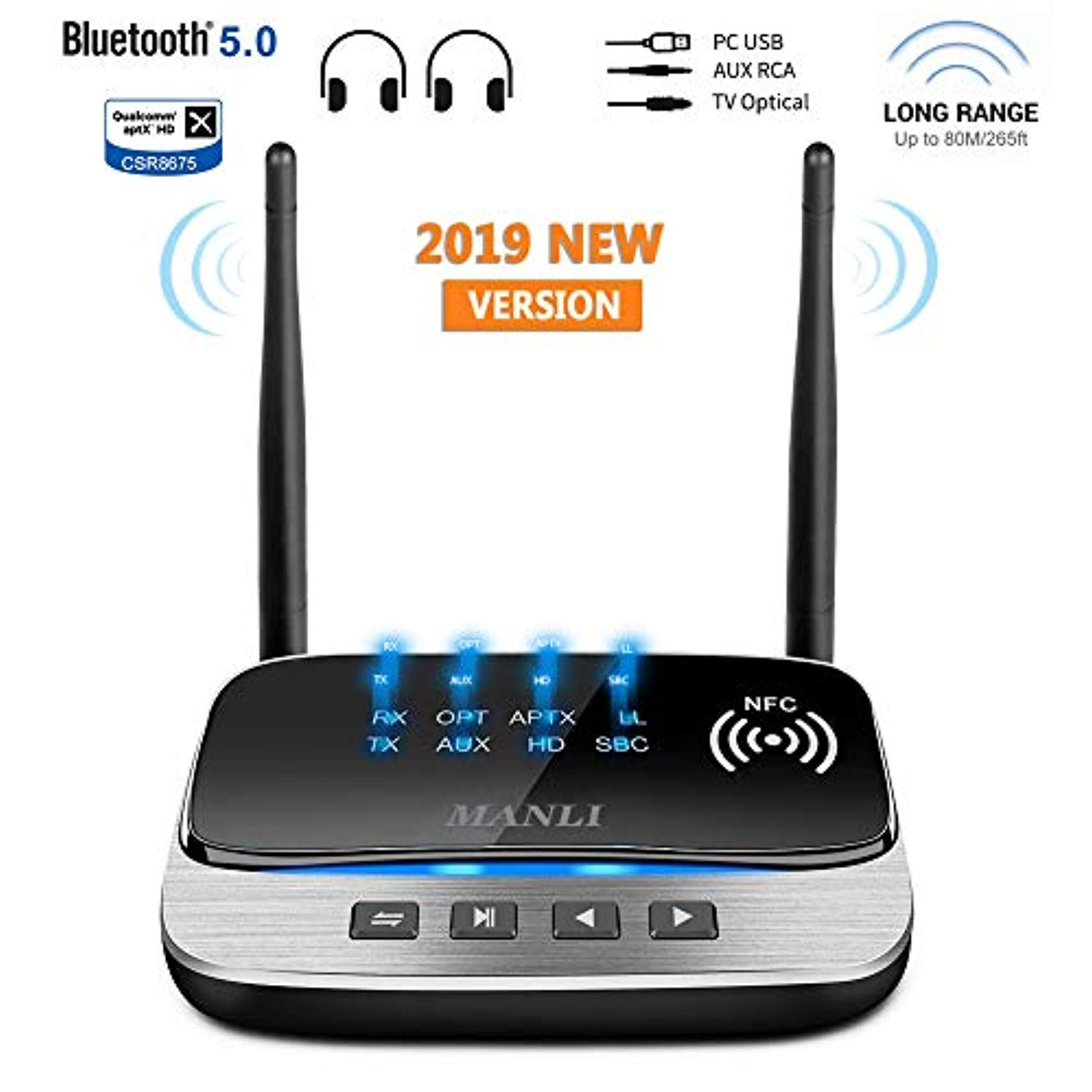 Homespot LONG RANGE APTX LOW LATENCY Bluetooth Receiver w TOSLINK COAXIAL /& AUX