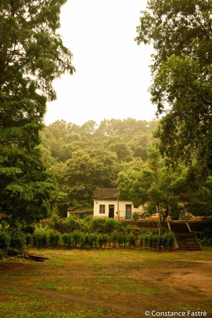 Station on a rainy day