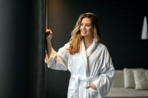 Stunning woman in bathrobe