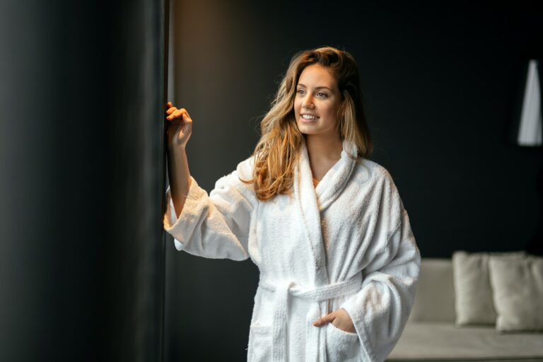 Stunning woman in bathrobe