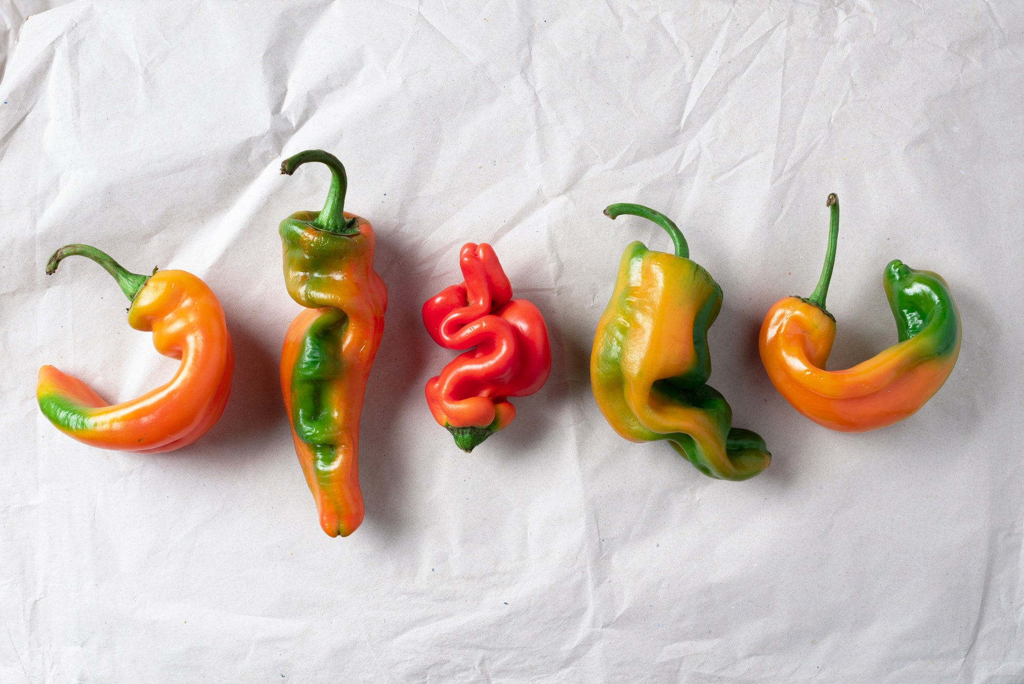 Ugly bell pepper on craft paper background. Concept of zero waste production. Top view. Copy space
