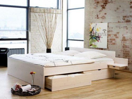 Messina fyrhvid seng med skuffer