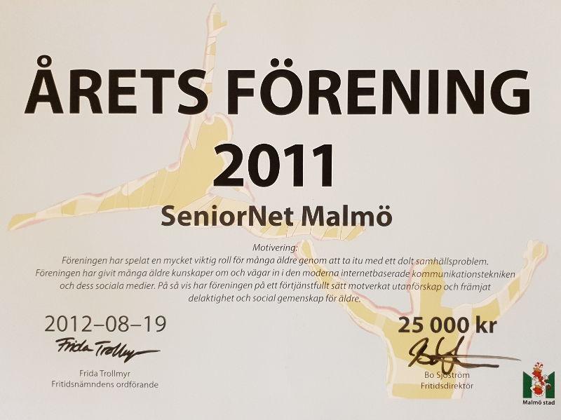 SeniorNet Malmö årets förening 2011