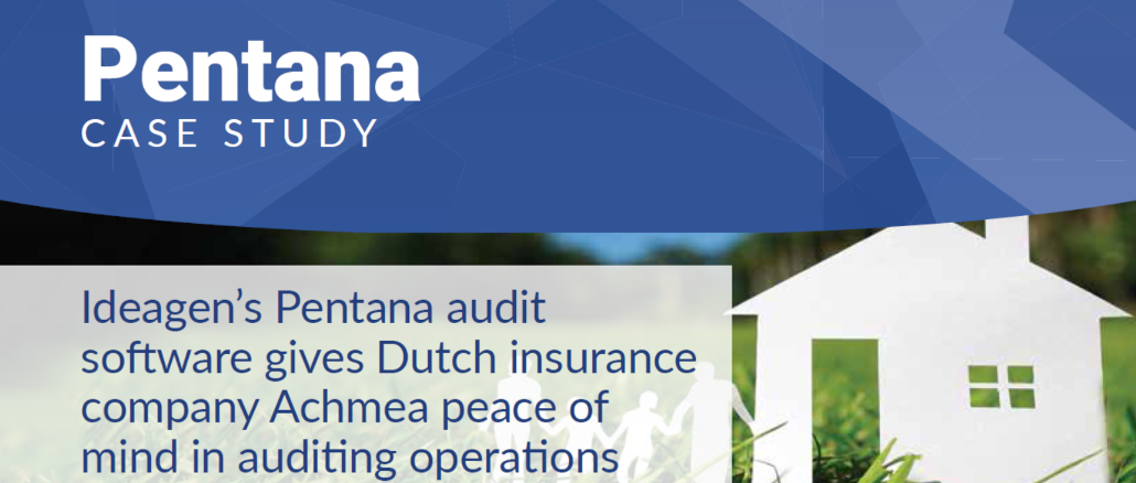 Ideagen's Pentana audit software gives Dutch insurance company Achmea peace of mind in auditing operations