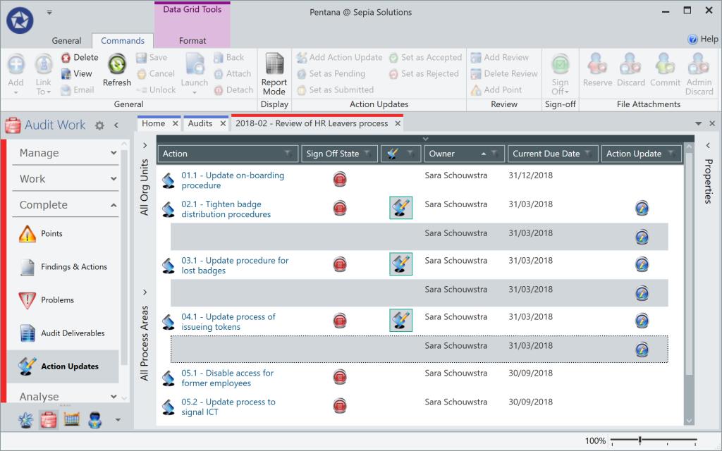Pentana - Action update records
