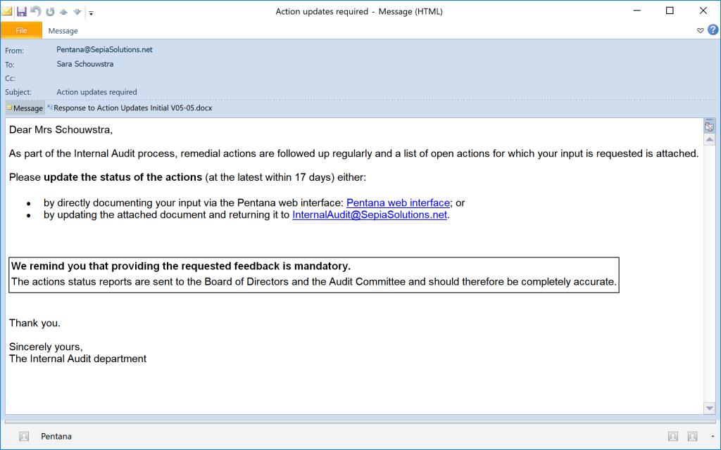 Pentana - Initial email notification