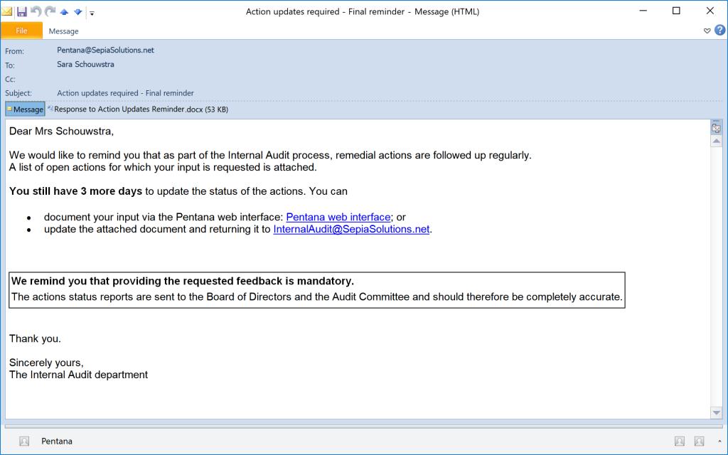 Pentana - Email reminder