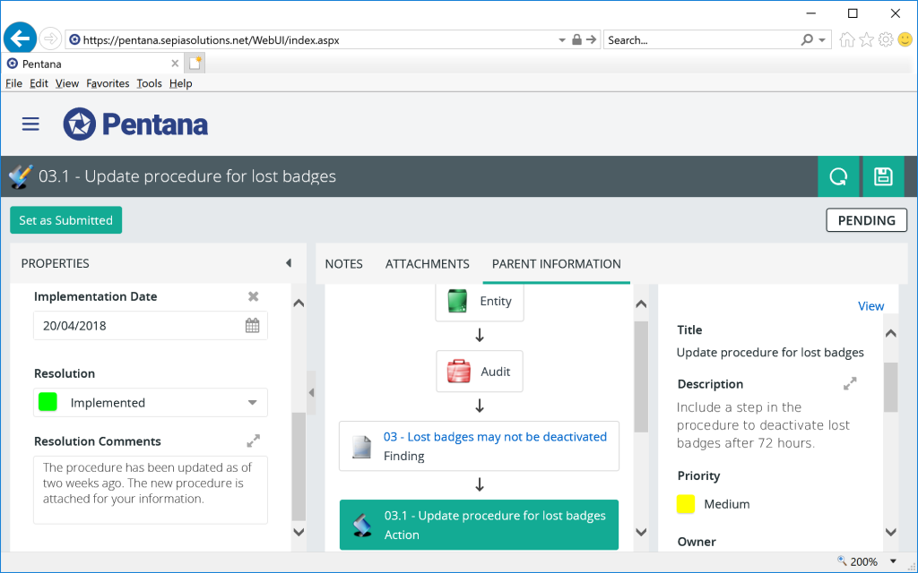 Pentana - Web interface: submitting action updates