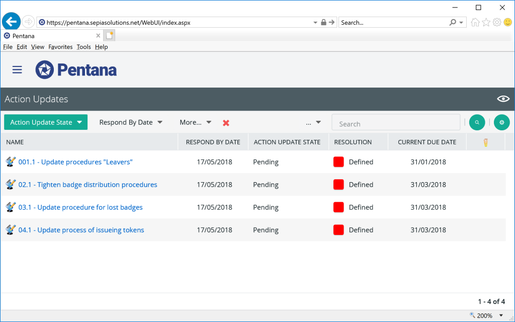 Pentana - Web interface: overview of action updates
