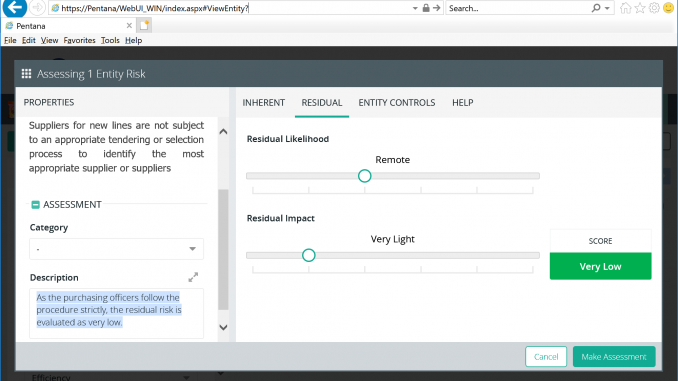 Pentana - Self-assessments via web
