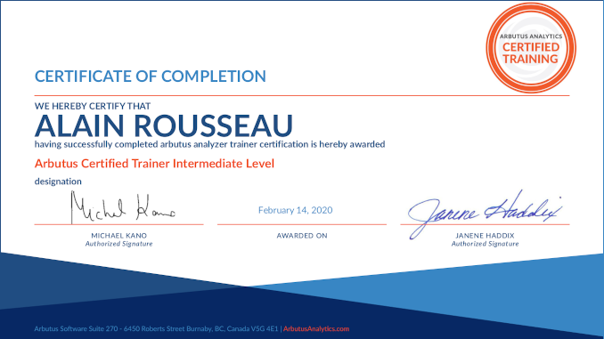 Arbutus Certified Trainer Intermediate Level