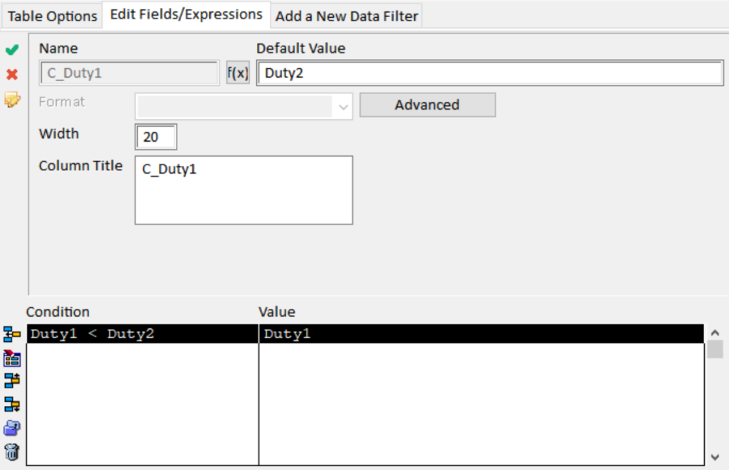 """Conditional computed field C_Duty1 is defined as equal to """"Duty1"""" if """"Duty1"""" comes alphabetically before """"Duty2"""", or as equal to """"Duty2"""" otherwise."""
