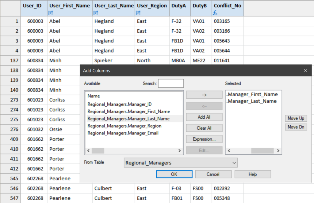 Fields from the related tables are added to the SOD_Exceptions table to enrich the output (e.g. User_First_Name, User_Last_Name, Manager_First_Name, Manager_Last_Name).