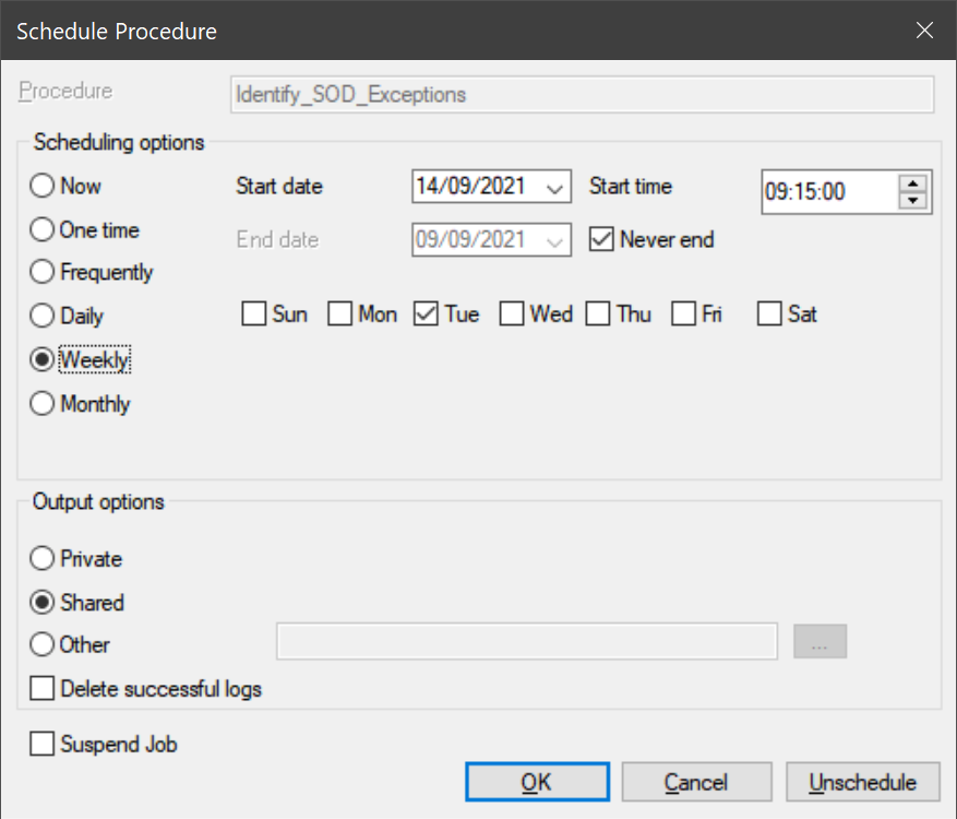 Dialog box with scheduling options for procedure. Options include the timing and frequency as well as output options.