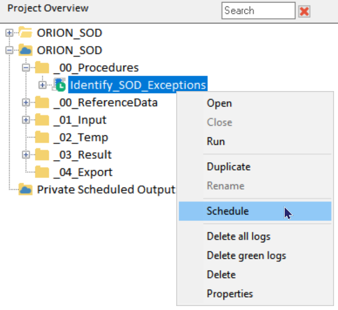 Within the Project Overview, the right-click menu provides the user a way to schedule the procedure on the Arbutus Hub.