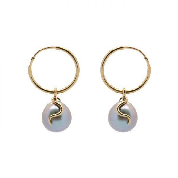 River Pearl Curl Earrings by Serena Fox