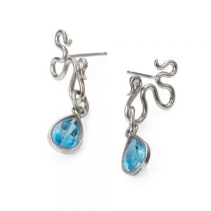 River Earrings with Aquamarine and Diamonds by Serena Fox
