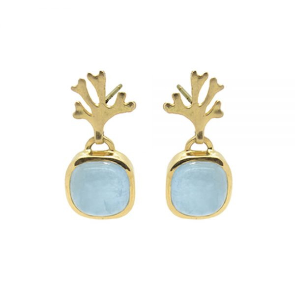 Chondrus Earrings with Aquamarine 18Y designed by Serena Fox