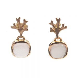 Chondrus Earrings with Rose Quartz 18R designed by Serena Fox