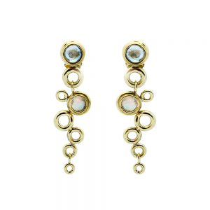 Ocean Foam Earrings Aquamarines and Opal 18ct Yellow Gold designed by Serena Fox