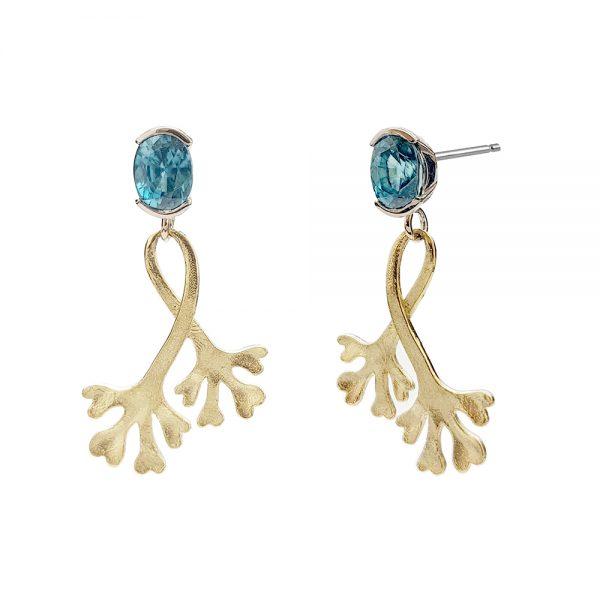 Serena Fox Chondrus Seaweed Earrings with Aquamarine