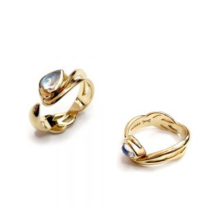Serena Fox Siamese Fighting Fish Ring yellow gold rings with Moonstone Cabuchon