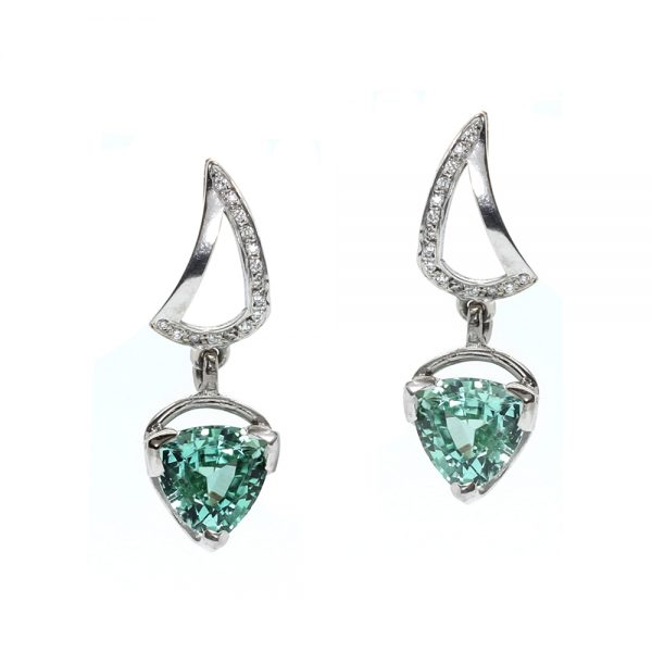Serena Fox jewellery. Sail Earrings in 18ct white gold tourmaline