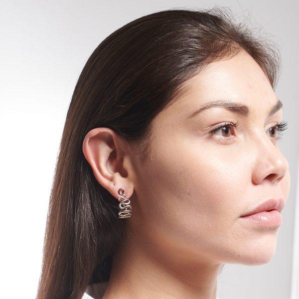 Serena Fox Wisp Hoop Earrings - model