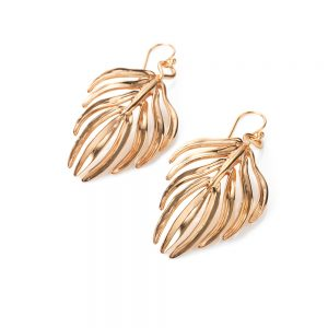 Serena FoxPalm Leaf Earrings rose gold