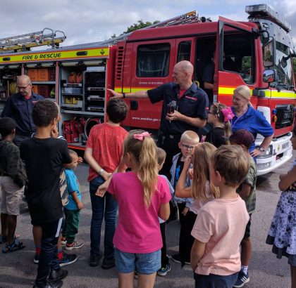 Photo showing a visit from the Fire Service