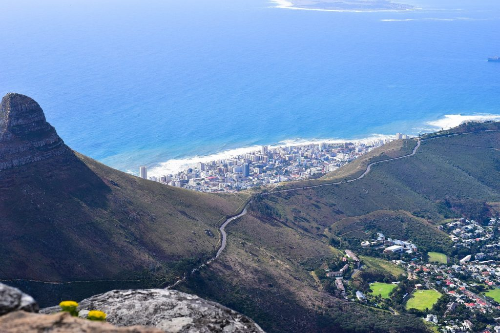 aerial from table mountain, south africa, cape town