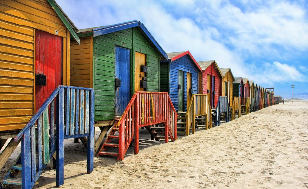 south africa, muizenberg, colorful