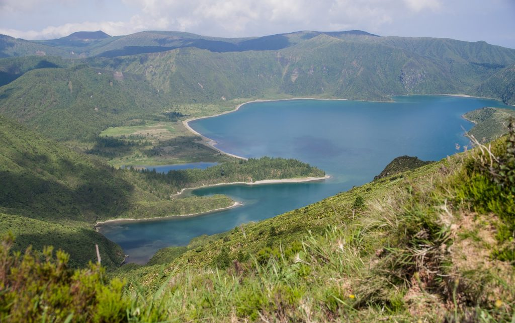 the azores, lake, crater