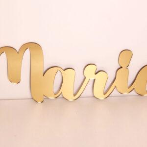 väggtext & namnskylt  i spegelakryl guld