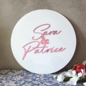 bröllopsskylt, skylt till bröllop, akryl rund (spegel/vit) 40cm / 60cm