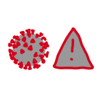 Red and grey illustration of a magnified coronavirus and a warning sign