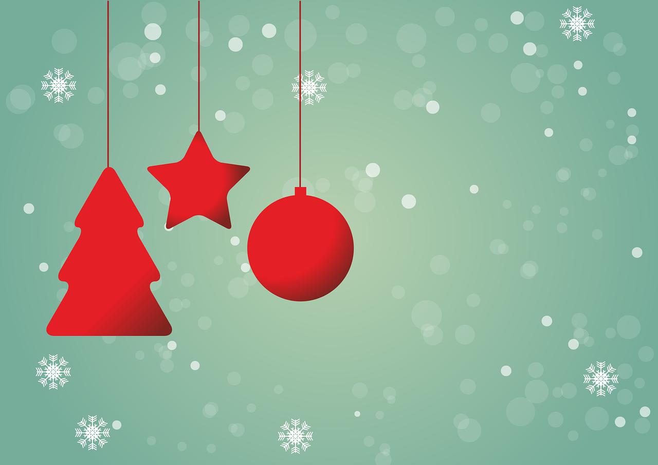 christmas, red, star