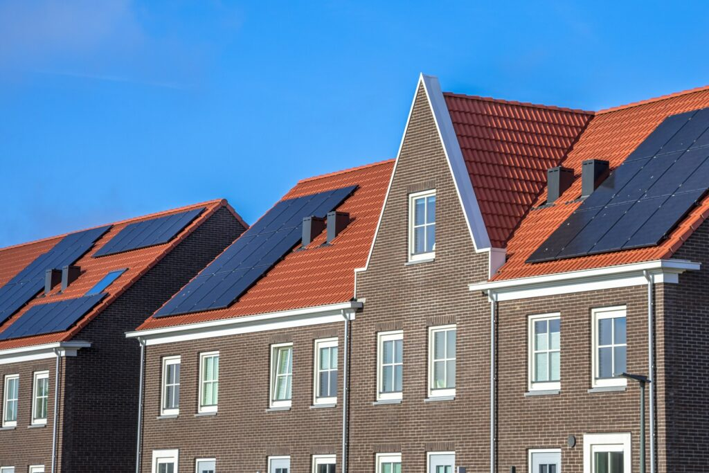 Close up of Modern row houses with solar panels