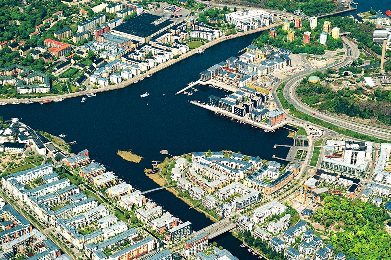 Flygfoto över Hammarby Sjöstad