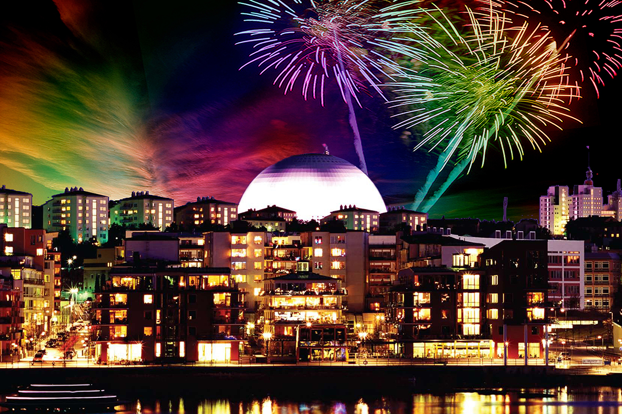 Fyrverkeri över Hammarby Sjöstad med Globen
