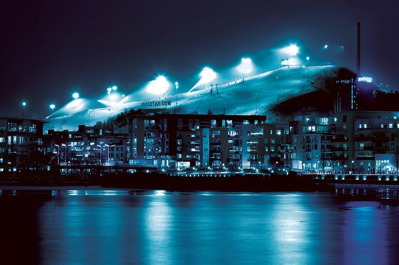 Hammarby Sjöstad i blått
