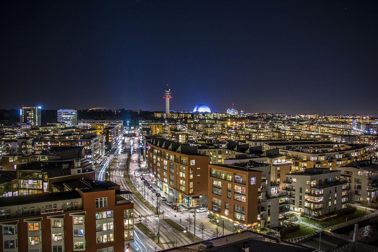Hammarby Sjöstad kvällstid