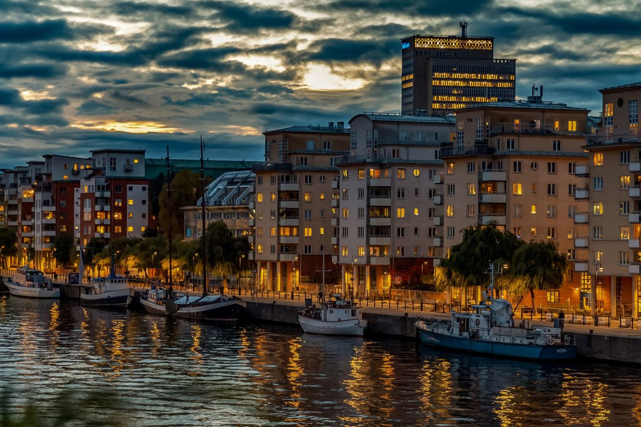 Hammarby kanal i Hammarby Sjöstad 2020
