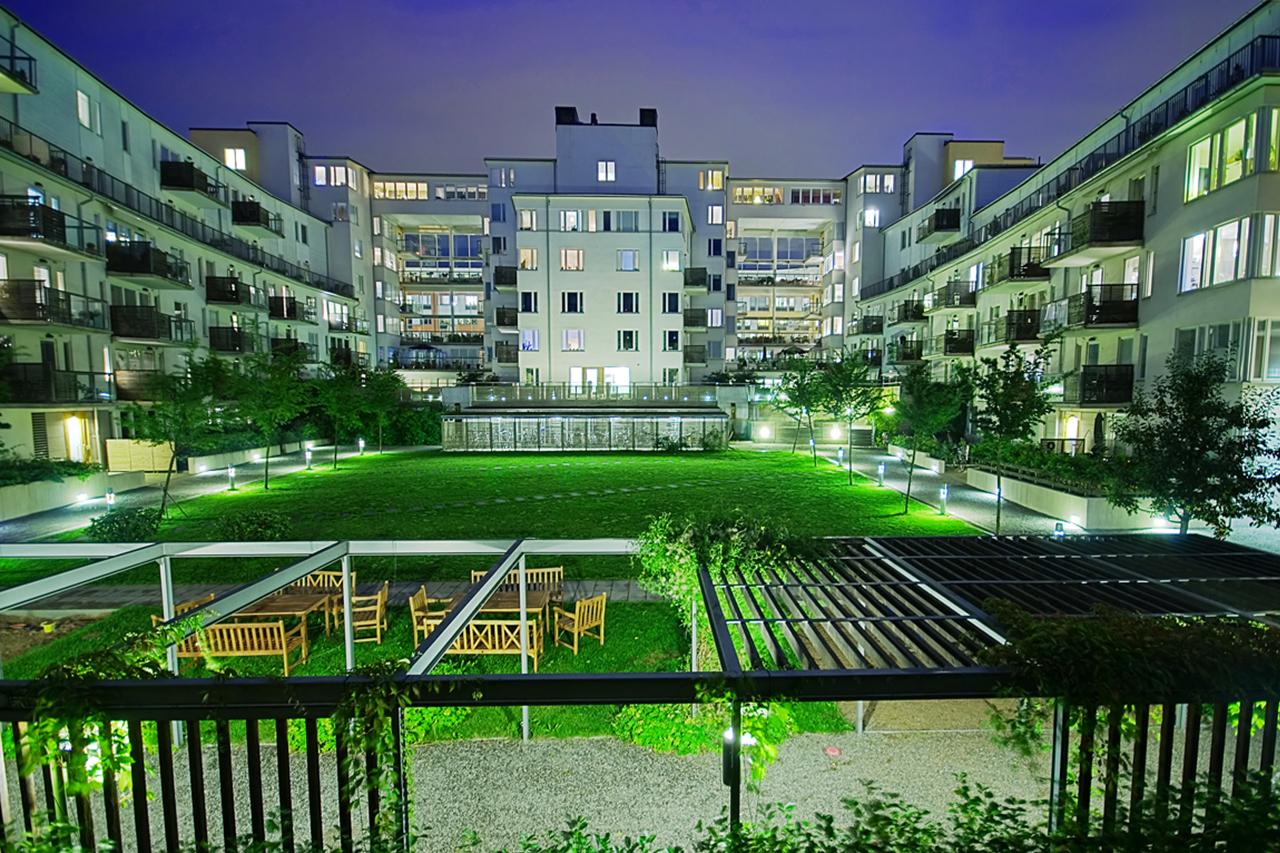 Innergård i hammarby Sjöstad