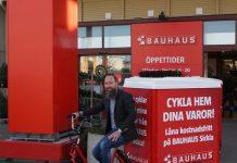 Johan Saxne på elcykel från Cykelmästarna och Monark Cargo