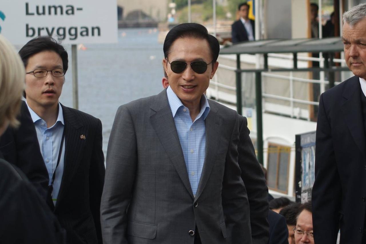 Lee Myung-Bak president i Sydkorea besök i Hammarby Sjöstad